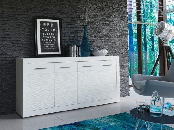 Tálalószekrény, fehér dekor kivitelben, recés felülettel, 4 ajtóval, Szé/Ma/Mé: kb. 170/80/37cm