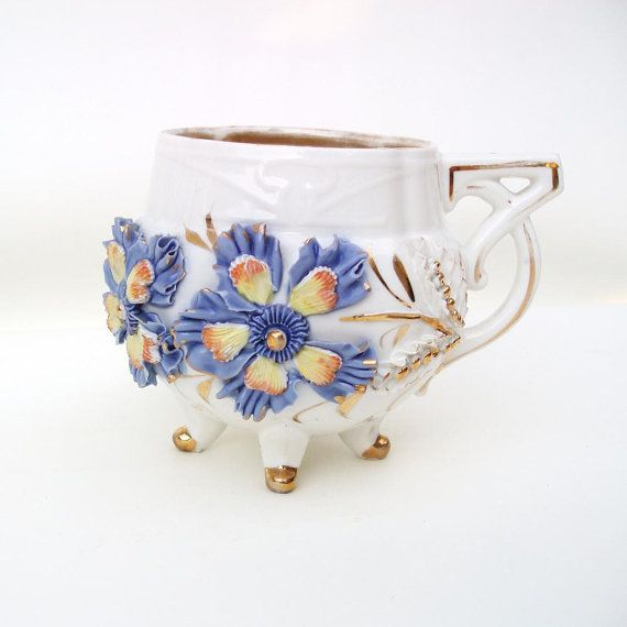 Victorian Mug Antique Porcelain Cup Footed Mug 3D by WhimzyThyme, $37.95