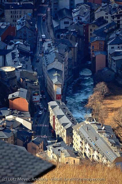View on Escaldes; Rui Valira and Romanesque bridge Pont d'Engordany, Esglesia Sant Pere Martir, Avinguda Miquel Mateu and Avinguda Carlemany, Escaldes, Andorra, Pyrenees