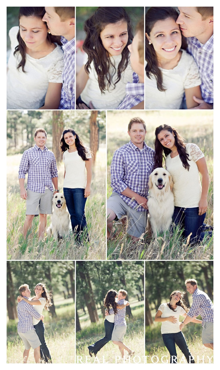 outside rural engagement shoot couple with golden retriever dog colorado springs photographer