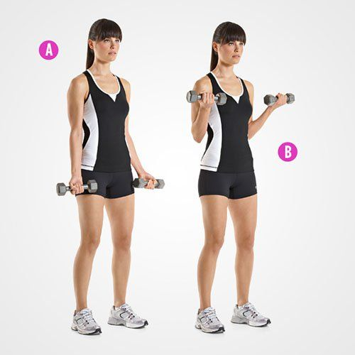 Standing Dumbbell Bicep Curls http://www.womenshealthmag.com/fitness/sculpted-arms/slide/7