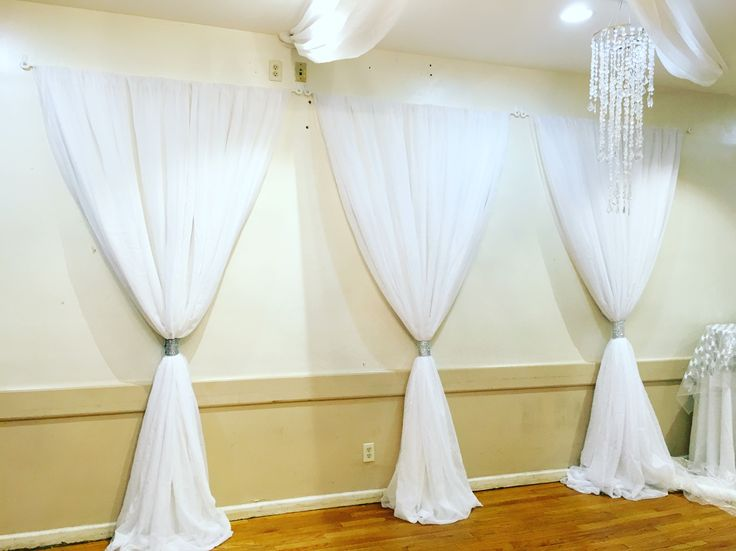 White draping with bling bands