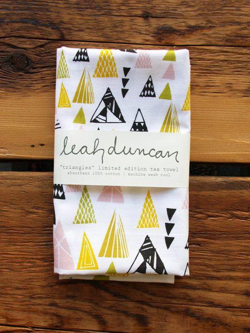 Triangles Tea Towel by Leah Duncan