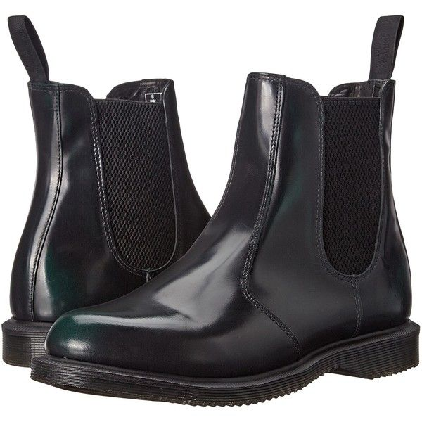 Dr. Martens Flora Chelsea Boot (Green Arcadia) Women's Lace-up Boots (100 CAD) ❤ liked on Polyvore featuring shoes, boots, ankle booties, shoes boots, ankle boots, black, black leather booties, black laced booties, leather bootie and leather booties