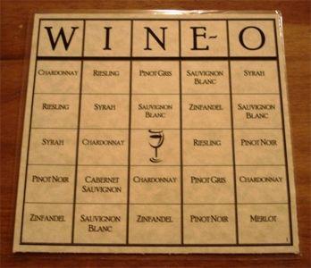 Wine-O Bingo Game Score Card