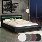Miadomodo - Cadre de lit en simili cuir avec sommier à lattes et éclairage LED - Noir - 180 x 200 cm - COLORIS ET TAILLE AU CHOIX