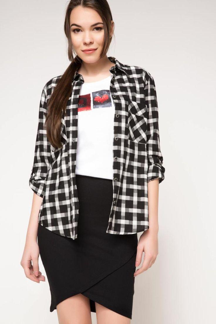 DeFacto Siyah Kadın Uzun Kol Cepli Gömlek 1