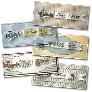 Airplane Banner Cards -  Have you ever wanted to rent a plane with a banner to send a message? Here's a much eaiser (and cheaper) way to do that! Send your message with a fun airplane banner card.