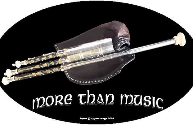 Uilleann pipes sticker for uilleann pipers : more than music. Autocollant pour uilleann piper (plusieurs couleurs).  Irish music.  Musique irlandaise