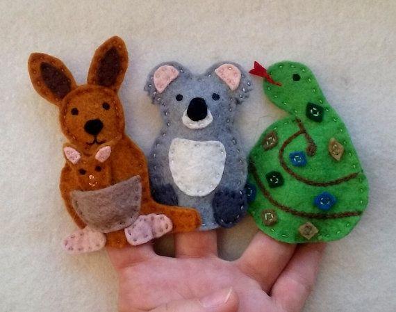 Finger Puppet Australian Animals, Koala, Kangaroo, Snake Puppets