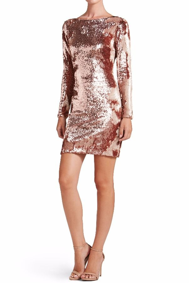 30173386b9 Dress The Population Lola Rose Gold Sequin Cocktail Dress Long Sleeved
