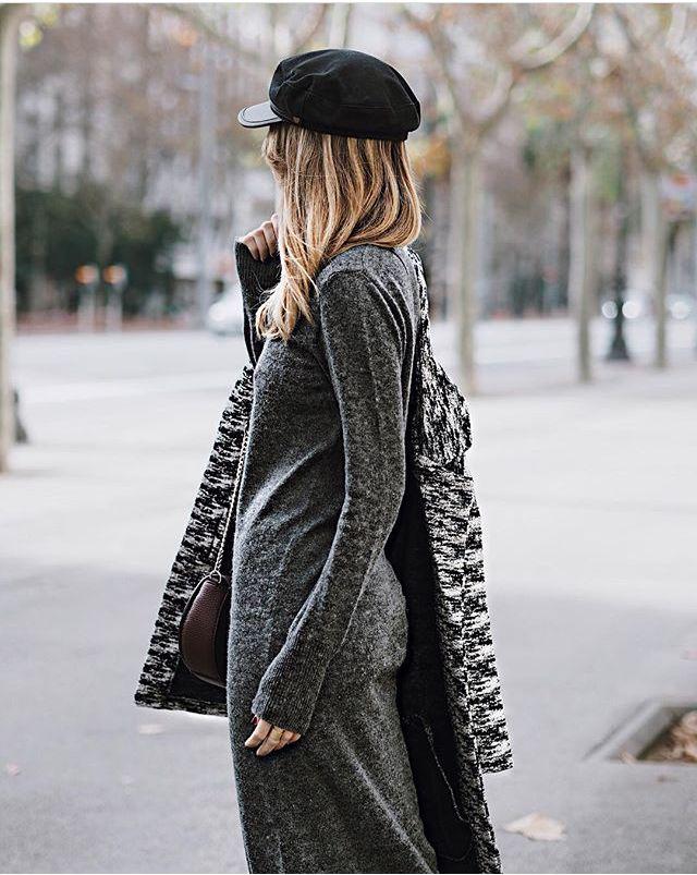 Knit dress & maxi blazer