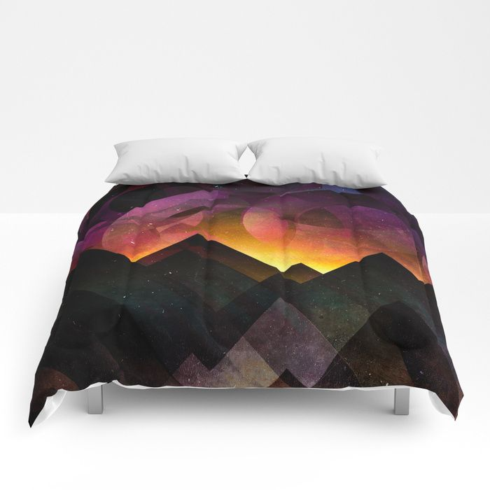 Whimsical mountain nights Comforters by HappyMelvin | Society6