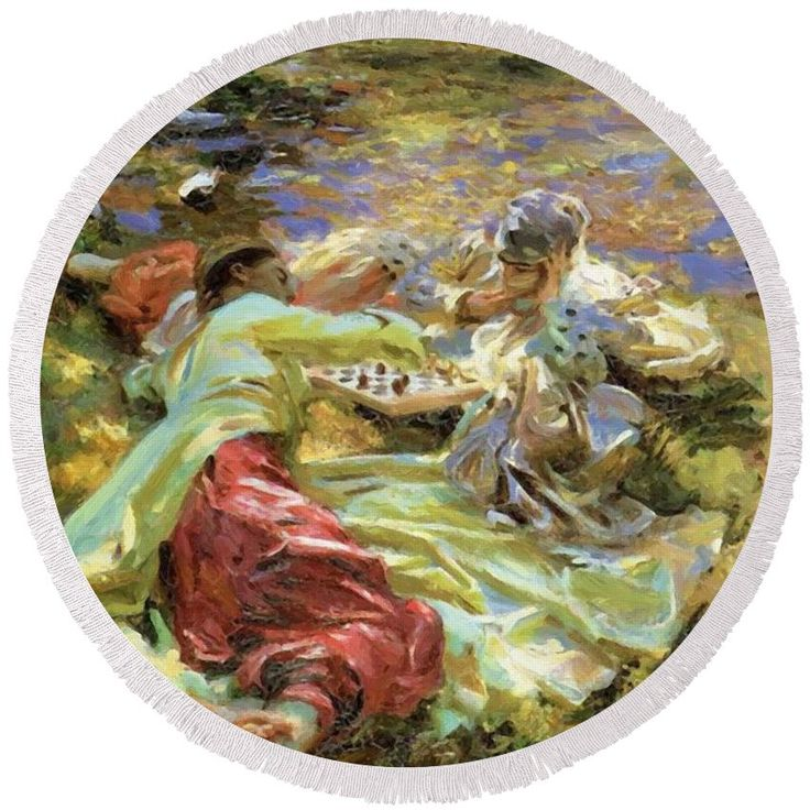The Round Beach Towel featuring the painting The Chess Game by Sargent John Singer