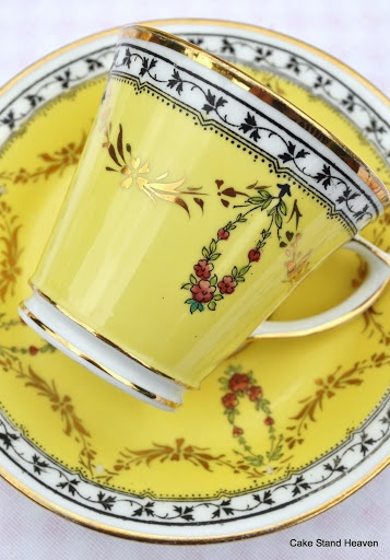 Duchess China 1910 Coffee Cup and Saucer Vivid Yellow - Striking colors and motif