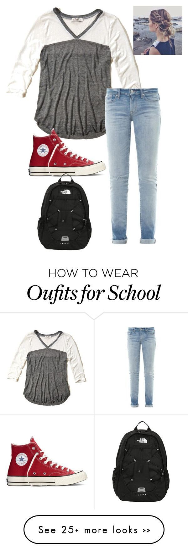 """School"" by tessperdue on Polyvore featuring Hollister Co., Marc by Marc Jacobs, Converse and The North Face"