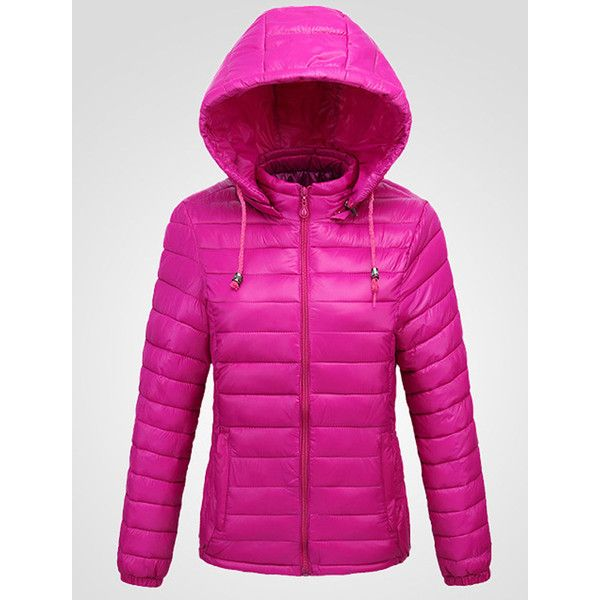 Basic Hooded Quilted Plain Padded Coat (130 PEN) ❤ liked on Polyvore featuring outerwear, coats, long padded coat, long quilted coat, long coat, hooded coat and padded coat