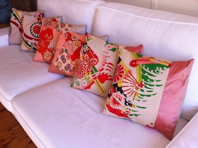 Kimono Cushions - We make cushions from vintage kimono silk