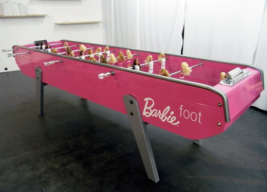 She may be tall, blonde & beautiful: but she can kick Barbie's ass at foozeball any day of the week.