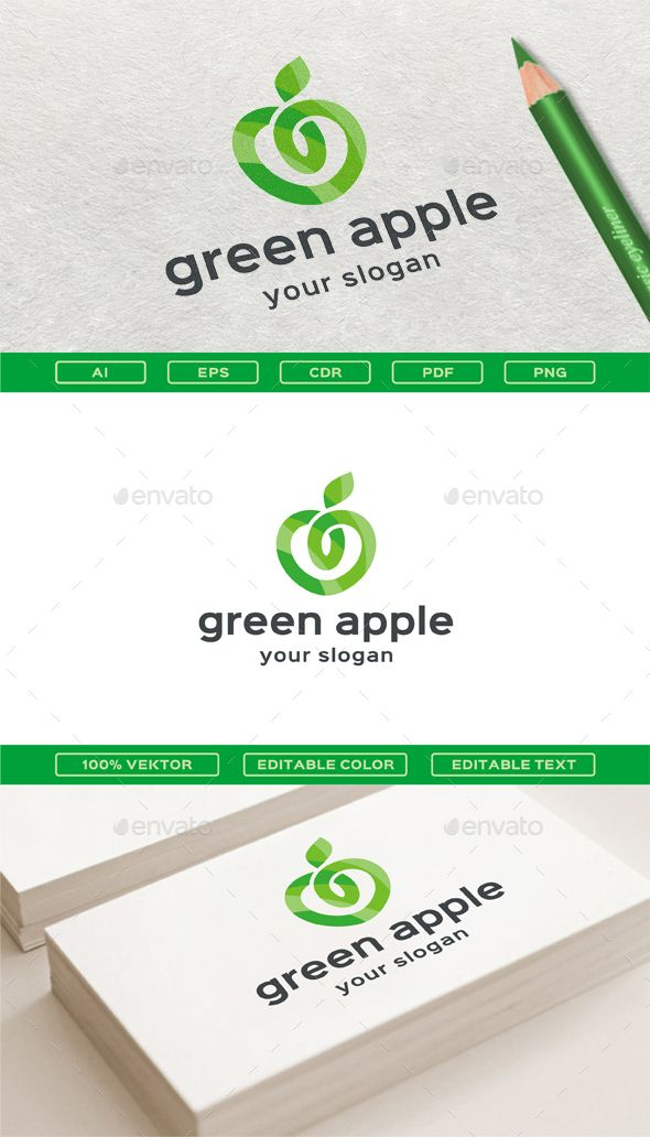 Green Apple Logo Template Vector EPS, AI Illustrator, CorelDRAW CDR