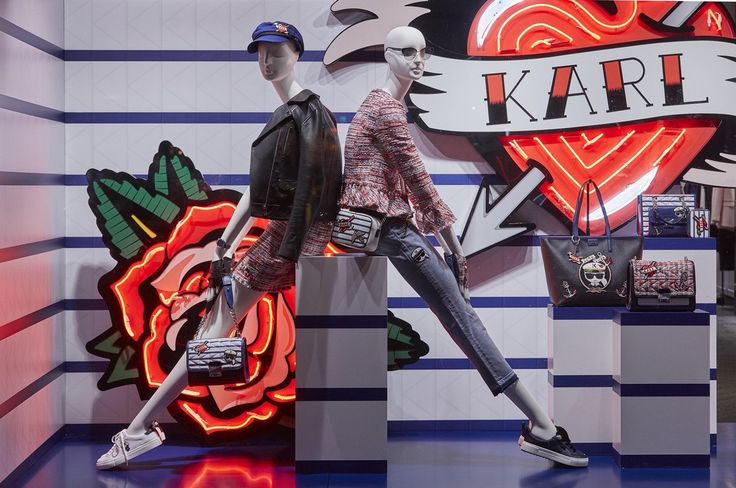 """KARL LAGERFELD, London, UK, """"Oversized neon tattoos inspired by the collection patches alongside 'kuilted' walls"""", creative by Chameleon Visual, pinned by Ton van der Veer"""