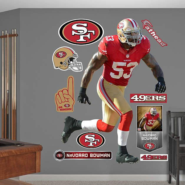 Fathead San Francisco 49ers Navorro Bowman Decal - Wall Sticker Outlet  Sopoaga White Jersey ... 13f5e7aa4
