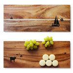 Planches à tapas en acacia huilé avec motif gravé au laser et positionné à la main, design Olze & Wilkens (Allemagne)