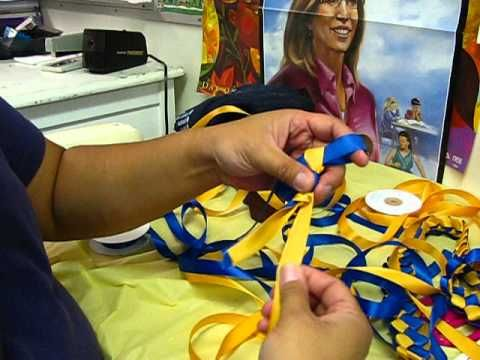 """How To Make A Ribbon Lei :  used 5/8"""" satin ribbons. The ribbon length was a total of 9 yards (or 4.5 yards for each color)."""