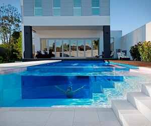glass swimming pool is a recent design trend that makes for an attractive and impressive outdoor decor the design solution has been used as a feature in