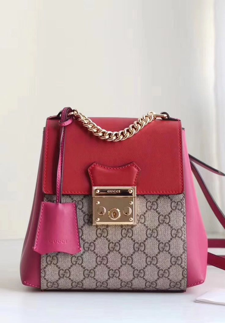 2e40e2999cfb Gucci Padlock GG Supreme backpack with Red and Pink leather ...