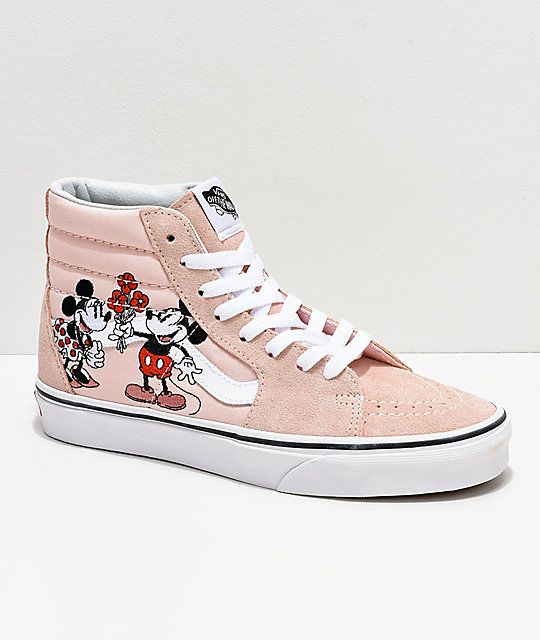 6ad7de8d74d Disney by Vans Sk8-HI Mickey   Minnie Pink Skate Shoes in 2019 ...