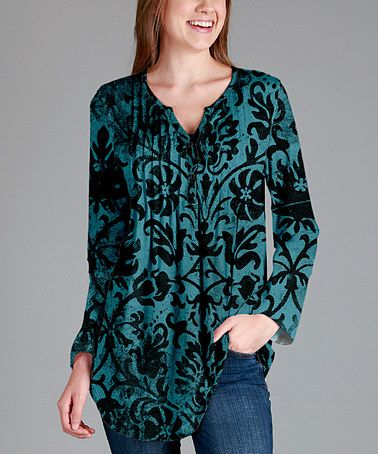 Another great find on #zulily! Teal & Black Floral Notch Neck Tunic - Plus…