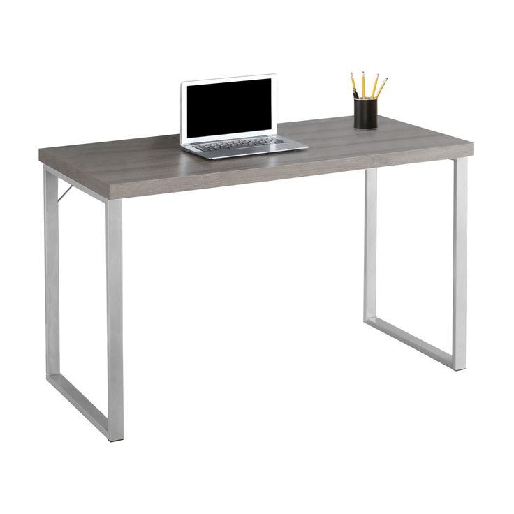 Silver Metal Computer Desk - Dark Taupe - EveryRoom