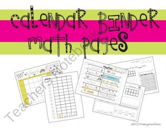 Kindergarten Calendar Binder Pages : Best calendars images on pinterest classroom ideas