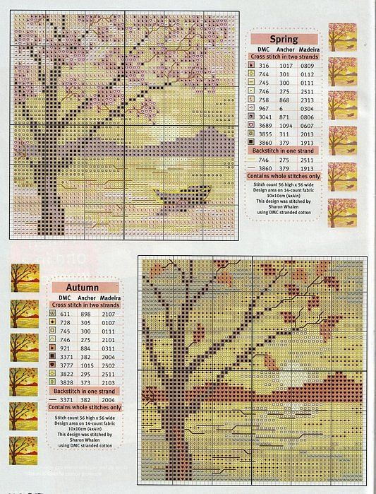 Seasonal, Autumn and Spring trees in front of a lake. full free cross stitch pattern with DMC labeling