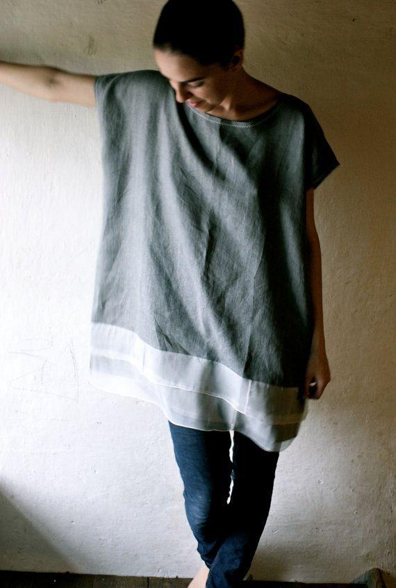 Grey Linen/Silk Tunic Dress by larimeloom on Etsy