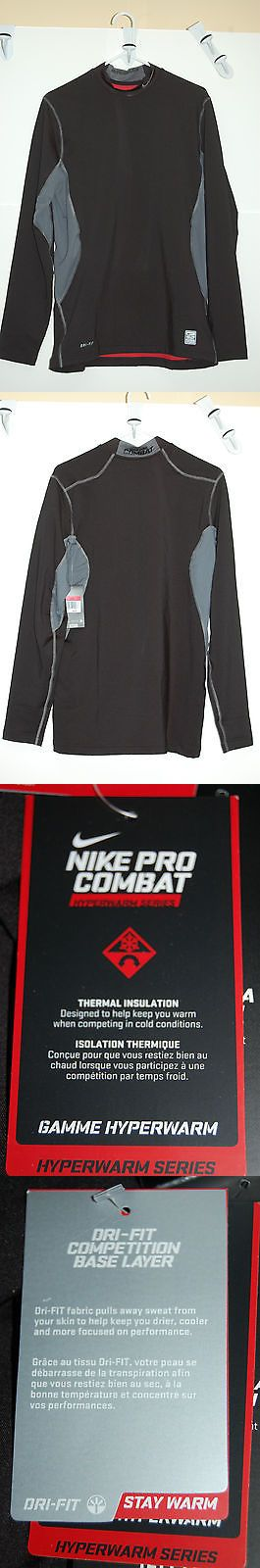 Other Mens Fitness Clothing 40892: Nike Pro Combat Dri-Fit Stay Warm Hyperwarm Mens Fitted Mock Large Black Silver -> BUY IT NOW ONLY: $44.96 on eBay!