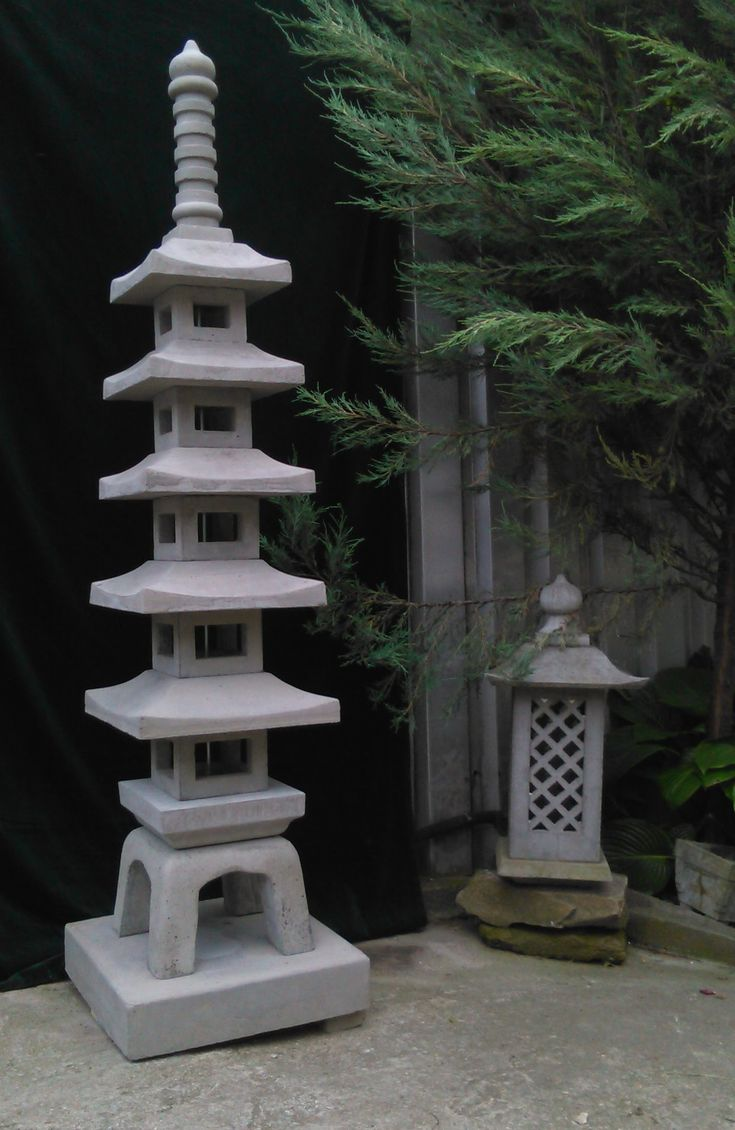 Concrete Pagoda Lantern Making Pagoda Garden Japanese