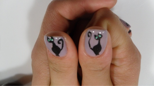 Black cats nail art!