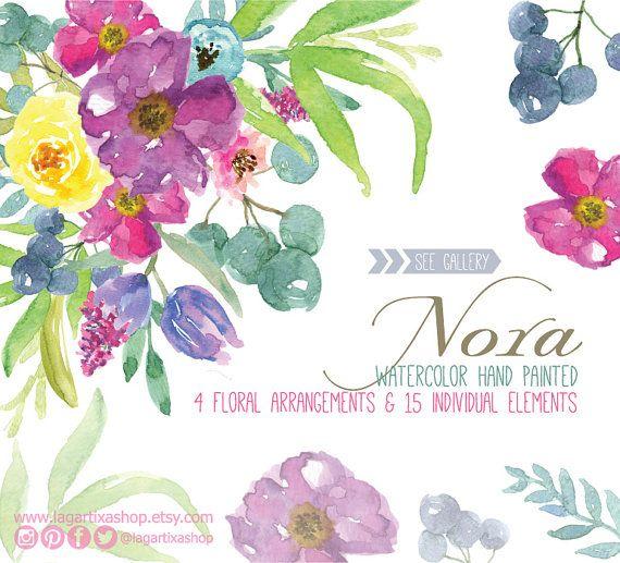 Flores en Acuarela Bouquet Clipart PNG pintadas a por LagartixaShop #bouquet #florals #floreado #flores #flowers #fiori #watercolor #clipart #invitations #invitaciones #boda #wedding #nozze #partecipazioni