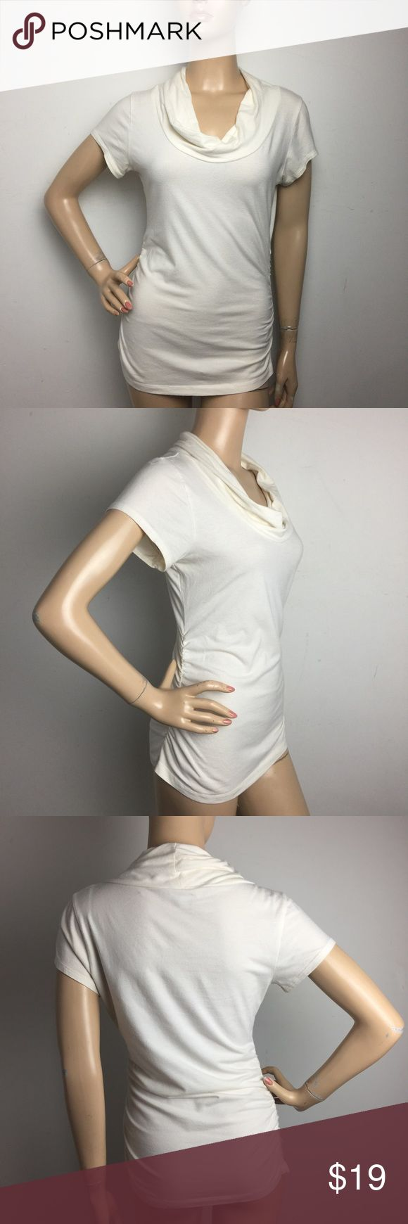 """Cabi Cowl Neck Ruched Sides Cream Tee Medium ALL MEASUREMENTS ARE TAKEN WITH GARMENT LYING FLAT: SLEEVES: 5"""" BUST: 17"""" WAIST: 14"""" LENGHT: 24"""" CAbi Tops Tees - Short Sleeve"""