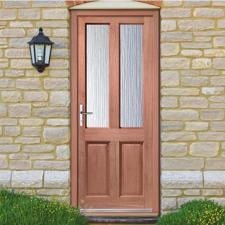 Malton style exterior hardwood door, dowel joints with Obscure safety single glazing. #traditionaldoor #traditionalfrontdoor #traditionalmahoganydoor