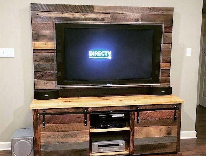 best 25 meuble tv palette ideas on pinterest meuble en. Black Bedroom Furniture Sets. Home Design Ideas