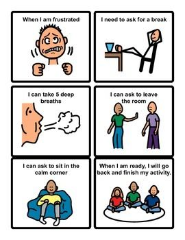 """Asking for a break Social Story cards-You can cut, laminate and hole punch upper left corner. -Put it in a 2"""" or 3"""" ring and carry it around and show to your students when/before get frustrated."""