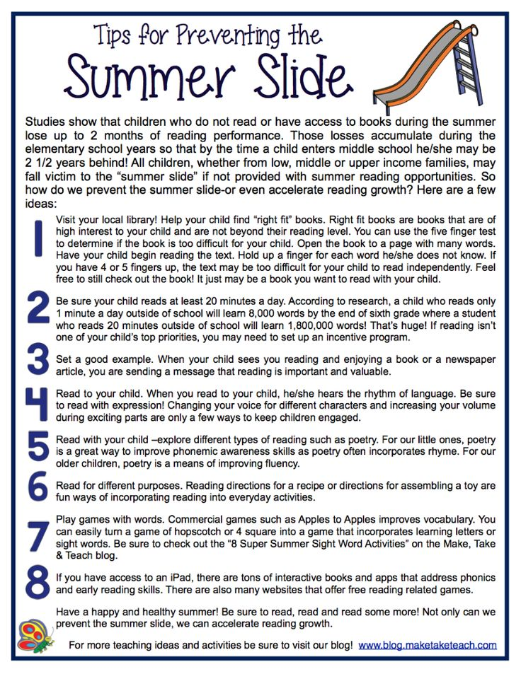 8 great ideas for preventing the summer slide. Free downloadable handout!