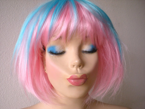 valentines special pink blue short wig ombre blue pink wig - Colored Wig
