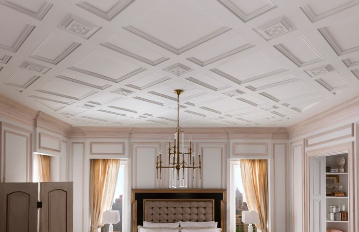 Metrie French Curves Finishing Collection: The multi-layered #ceiling treatment was inspired by French châteaux. #bedroom #moulding #trim #trimwork