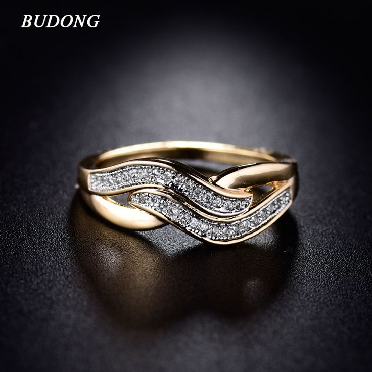 Women Ring Valentine Day Fashion Love Band Gold  Plated Ring Crystal Cubic Zirconia Wedding Accessories Jewelry R227