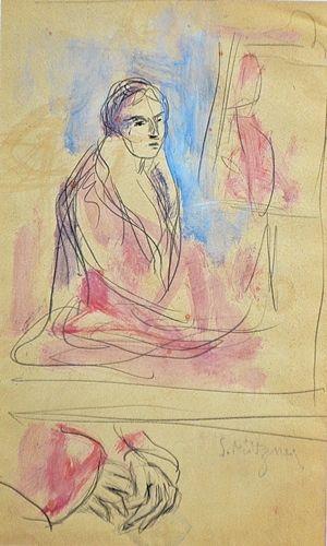 Description: acuarelă și creion/hârtie, semnat dreapta jos (T.A.P.) / watercolor and pencil on paper, signed lower right (A.T.)  Dimensions: 32,5 x 20 cm (în oglindã)  Maker: MÜTZNER SAMUEL ( 1884-1959 )