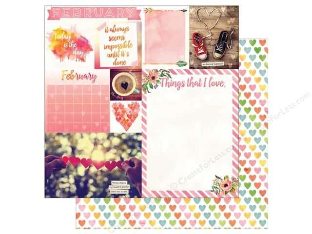 February Calendar Girl 12x12 Scrapbook Paper - 5 Sheets by Bo Bunny